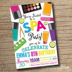 Printable Spa Chalkboard Birthday Invitation DIY Manicure and