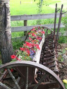 Rustic farm equipment with flowers - Alte Gerätschaften - Decoration Vintage Farm, Vintage Homes, Rustic Gardens, Outdoor Gardens, Deco Nature, Pot Plante, Old Farm Equipment, Garden Junk, Garden Care