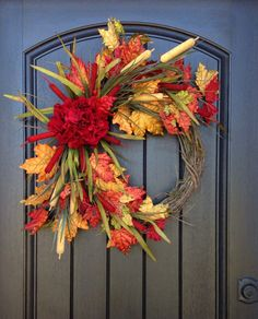 "Fall Wreath-Autumn Wreath- Berry-Twig-Holiday Wreath- Grapevine Door Decor-Fall Decor-""Kat Tails"""