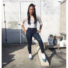 I love my custom classics. By Christina Milian Chill Outfits, Casual Outfits, Cute Outfits, Christina Milian, Dark Blue Skinny Jeans, White Tee Shirts, Outfit Goals, Outfit Ideas, Everyday Outfits