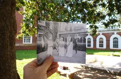 """Southeast courtyard of the Rotunda, April 13, 2012.  With """"University of Virginia Pageant"""" (May 28, 1917) from the Small Special Collections Library's Holsinger Studio Collection."""