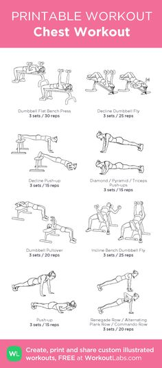 Chest Workout:my visual workout created at WorkoutLabs.com • Click through to customize and download as a FREE PDF! #customworkout