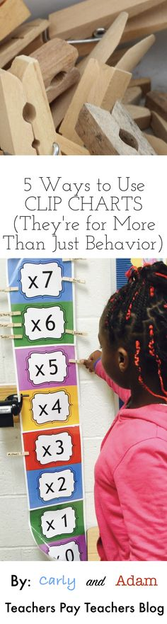 Learn about 5 ways to utilize clip charts in your classroom (other than for behavior). Increase student fact fluency, motivate students, and track data with just one simple tool! (Carly and Adam on the Teachers Pay Teachers Blog)