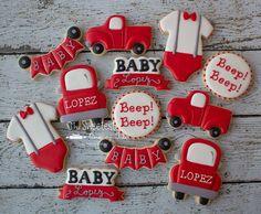 Old truck, banner, onesie baby boy cupcakes Baby Boy Cupcakes, Baby Boy Cookies, Cupcakes For Boys, Baby Shower Cookies, Cute Cookies, Yummy Cookies, Cupcake Cookies, Galletas Cookies, Iced Cookies