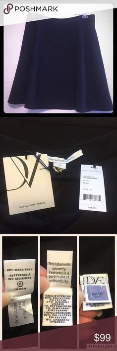 NWT DVF Amelia Skirt Sz 14 NWT black Amelia skirt by Diane von Furstenberg, size 14. Originally retailed for $298! A perfect flared silhouette that you can wear with anything. It's made of a ponte type fabric, side zip with hook & eye closure, and it has pockets! Such a staple for your wardrobe. The only flaws are hanger marks from being hung up with a metal hanger, close up of one of the marks is shown in the last picture. Not noticeable when it's on. Diane von Furstenberg Skirts A-Line or…