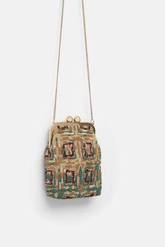 Beaded design on the exterior. Lined interior.Height x Length x Width: 18 x 13 x 5 cm. Beaded Purses, Beaded Bags, Zara, Bead Crochet Rope, Frame Bag, Best Handbags, Luxury Bags, Bracelet Patterns, Small Bags