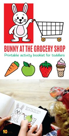 Printable activity booklet for toddlers- Bunny at the Grocery Shop