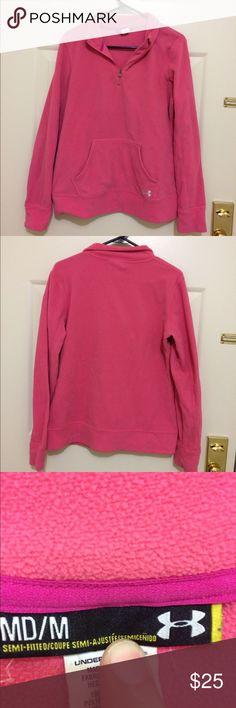 Pink under armour fleece pullover. Size medium Pink under armour fleece pullover. Size medium Under Armour Tops Sweatshirts & Hoodies