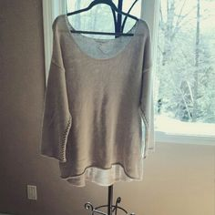 BCBG Sweater Cream colored. Wide scoop neck. Can be worn off the shoulders. Fun braided detail on side of sweater. Extremely soft material. Tag marked large but is more of an XL. BCBGeneration Sweaters Crew & Scoop Necks