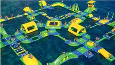 Waterproof Inflatable Water Parks , Colorful Water Amusement Park