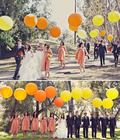bridal party carrying large balloons, bridal party poses
