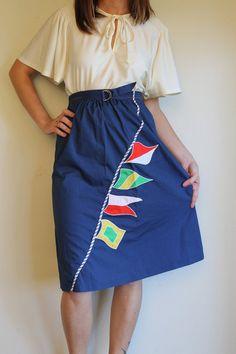 Navy Blue With Sailing Flags Nautical Style, Nautical Fashion, Flags, Elastic Waist, Sailing, High Waisted Skirt, Vintage Outfits, Goodies, Boats