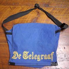 Vtg De Telegraaf Blue Cotton Canvas Dutch Newspaper Delivery Boy Messenger Bag #DeTelegraaf #MessengerShoulderBag