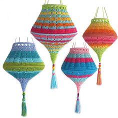 Ravelry: Boho Summer Lampion Lampshade pattern by Paula Matos Lampe Crochet, Crochet Lampshade, Crochet Hook Sizes, Crochet Hooks, Tunisian Crochet, Knit Crochet, Crochet Home Decor, Crochet Projects, Crochet Patterns