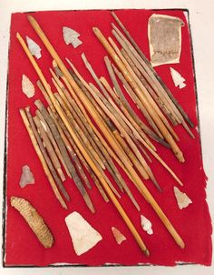 """444: Hohokam Collection, pre-historic items. Made of wood, stone, corn, cotton cloth, the items measure from 3/4"""" to 17"""". Hohokam, Arizona. About 30 arrow foreshafts and shafts. Fine cotton weaving and arrowheads. Cave find, near Tucson, Arizona in the 1950s on private land. Condition: As found, see images. Shipping: $24.50 w/insurance and signature. Tucson Arizona, Wood Stone, See Images, Made Of Wood, Ceramic Art, Arrow, Cave, 1950s"""
