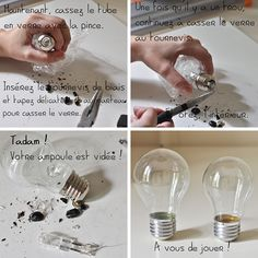 """Graduation: """"Bright Future"""" theme Light bulb how to prepare it for stuffing Light Bulb Art, Light Bulb Crafts, Home Crafts, Diy And Crafts, Origami Lights, Recycled Light Bulbs, Creation Deco, Tips & Tricks, Diy Origami"""