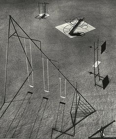 'Noguchi's playground equipment designs were criticized on the grounds they were too dangerous. These models were developed as part of a design for a playground to be constructed in Hawaii, but remained unrealized.'