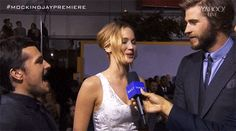 Josh's scared face, according to Jennifer Lawrence. #MockingjayPremiere