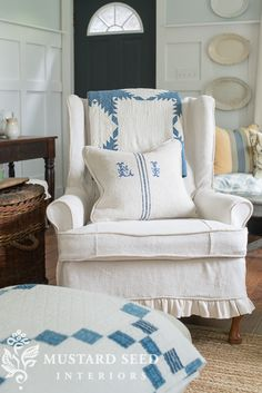 wing chair slipcovers | miss mustard seed Antique hemp sheet slipcover