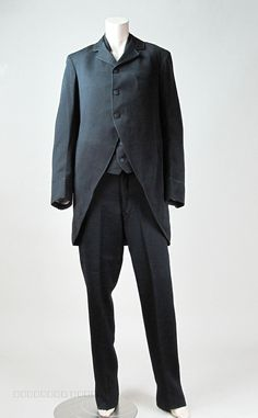 Rare Mens Circa 1880 3 Pc Morning Suit With Cutaway Jacket Waistcoat & Trousers