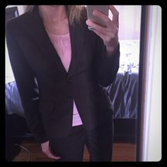 Chocolate H&M Suit Chocolate Suite - super comfy! Double button front closure - very light pinstripe - worn twice - perfect condition. Jacket size 4 - Pant size 6 H&M Jackets & Coats