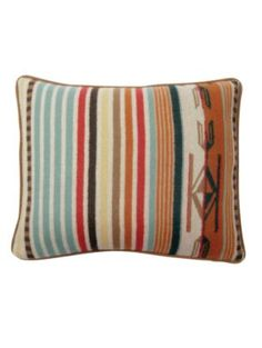 Add the perfect finish to a room with this Chimayo cushion from Pendleton. Made from wool, this cushion has a mutilcoloured stripe design with Native American pattern inspired flourishes. Wool Pillows, Bed Pillows, Cushions, Pendleton Pillow, Mission Style Furniture, Pendleton Woolen Mills, Pillow Reviews, Colorful Pillows, Wool Fabric