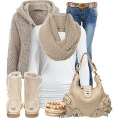 """I wear a grey version of this all the time. Now I want a cream/taupe version, but I'll wear my black leather designer jacket, crochet a taupe hobo bag, and skip the belt. And I suddently """"need"""" taupe/cream Uggs!"""