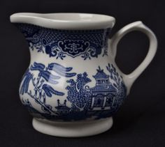 Churchill Blue Willow China Creamer Made in England Displayed Only | eBay