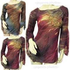 USA MADE NEW Women RED BLUE SHEER BELL LONG SLEEVE TOP Floral Flowers Pattern $39.98 #floral #flowers #Blouse #women #woman #fashion #clothes #red #blue