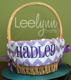 Personalized Easter Basket Liner  Purple Chevron  by LeelynnCrafts