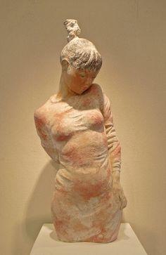orange - woman - figurative sculpture - Prof.  Sugiyama Soji  - 杉山惣二