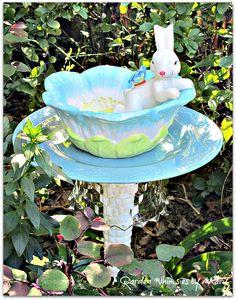 Bunny Garden Totem Stake / Bird Feeder   by GardenWhimsiesByMary, $40.00