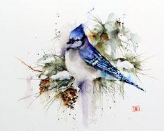 BLUE Jay Winter Watercolor Print by Dean Crouser par DeanCrouserArt