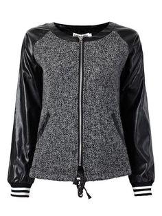 Women Long Sleeve O Neck Drawstring PU Patchwork Zipper Short Jacket