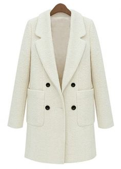 Charming Long Sleeve Beige Woolen Coat with Button