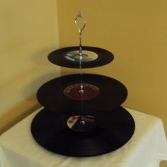 Upcycled Vinyl Record 3 tier dessert serving by BreakTheRecord, $39.99
