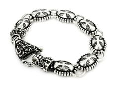 Twisted Blade Silver Large Oval Cross Bracelet With Fancy Clasp 8 Inch Twisted Blade. $364.98