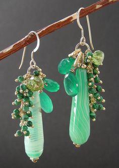 Emerald Green Onyx, Peridot, Agate, and Malachite Briolette Earrings. $67.00, via Etsy.
