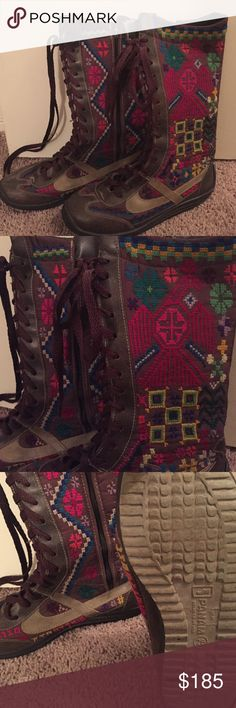 Hand stitched Aztec tribal boots Hand stitched one of a kind boots made in Mexico! Size 8-81/2 only worn a few time. Truly statement shoes. Free People Shoes Lace Up Boots