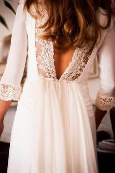 White Back Lace Dress