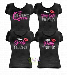 GROUP BUY Birthday Queen And Friend Bling Rhinestone Glitter Tee Friends Squad Group