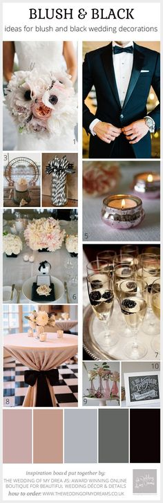 Blush Pink and Black Wedding Ideas, Decorations and Inspiration