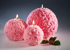 Pink candles - Carved candles - Large candles - Wedding candles - Home decor | shopswell