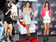"""JEFFREY CAMPBELL BOOTIES  A star is worn! Selena Gomez contrasts her pretty, girlie outfits with Jeffrey Campbell's chunky, star-studded """"See-Stars"""" stiletto boots."""