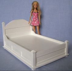 Double Bed for 12 inch doll 1:6 scale barbie dollhouse furniture twin queen size