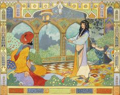 "oldchildrensbooks:  The Story of Prince Ahmed and the Fairy Perie Banou, from the Arabian Nights. Published by Gay & Hancock.c.1915. Illustrated by Charles Robinson. Ink and watercolour drawing. 20.8 x 26.3 cm.  "" The sorceress returned the next day """