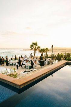 An oceanside reception in Cabo San Lucas #wedding #reception #beach #sunset