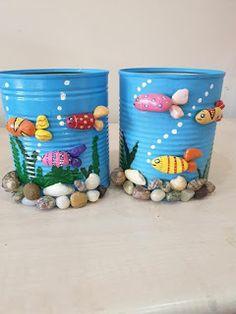 Stone Crafts, Rock Crafts, Diy Home Crafts, Creative Crafts, Tin Can Crafts, Jar Crafts, Bottle Crafts, Art Diy, Art N Craft