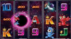 Galacticons, la tragamonedas del Big Bang  Durante la bonificación de tiradas gratis de Galacticons el agujero negro se desplaza sobre los tambores y convierte a los marcianos en premios extra