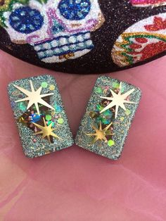 Atomic Stars Fabric and Glitter Lucite by TheAlamoBasement on Etsy
